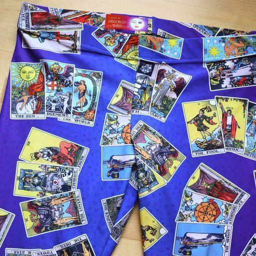 Tarot Leggings Blue & Purple with 3-Card Spread detail