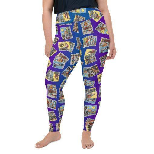 Goddess Size Tarot Leggings Blue & Purple with 3-Card Spread front