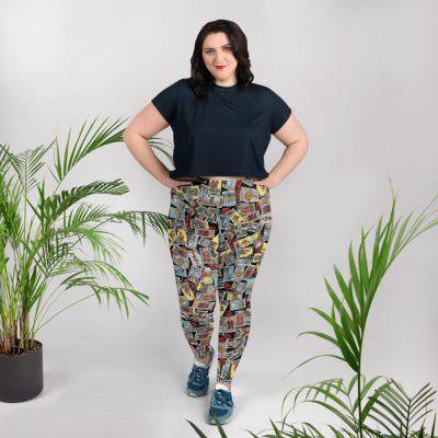 Goddess Size Tarot Leggings Black with Jumble model front