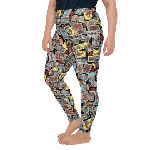 Goddess Size Tarot Leggings Black with Jumble left side