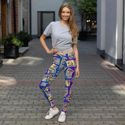 Tarot Leggings Blue & Purple with 3-Card Spread model 1